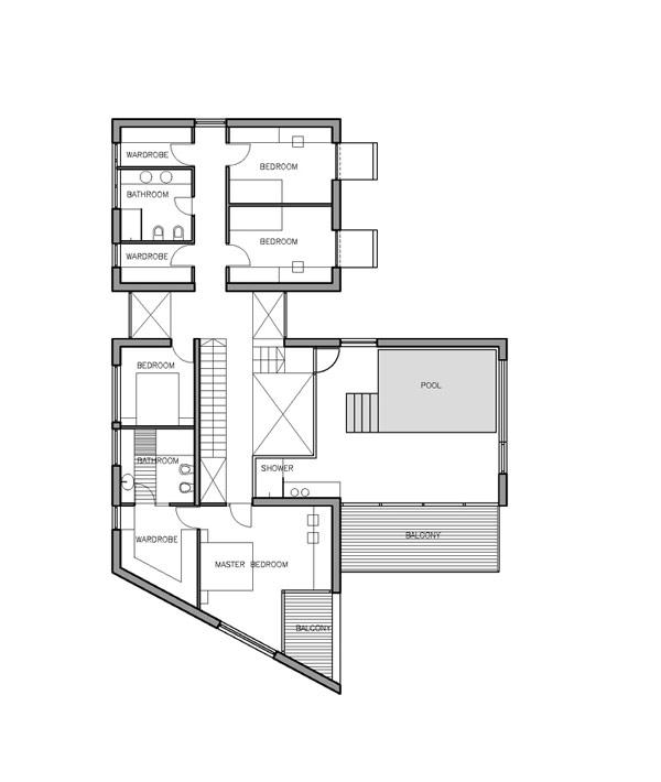 Imposante r sidence contemporaine avec un plan en forme de for T shaped house plans