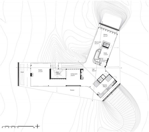 plan maison en forme de y