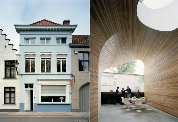 Arches et planches de bois cr ant une architecture for Architecture originale