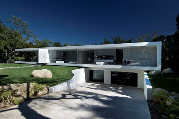 R sidence pavillon verre glamour en californie for Garage exterieur design