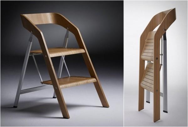 meuble l gant avec deux fonctions la chaise escabeau. Black Bedroom Furniture Sets. Home Design Ideas