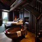 Salle de bain Baignoire en bois exquis dessins un caractère Unique salle d'impression